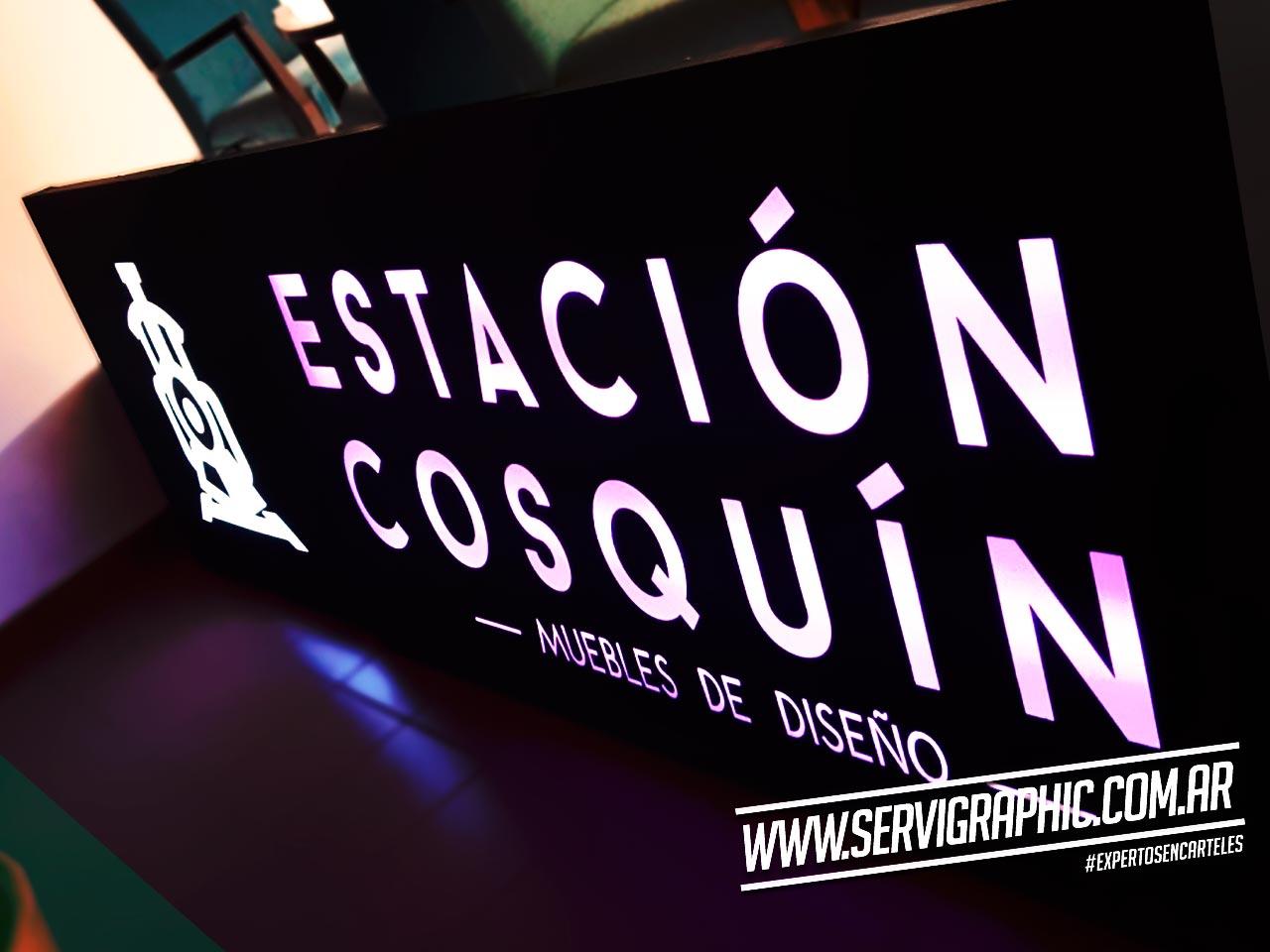 Estación Cosquin - Letrero - Cajón Calado + Acrílico + LED
