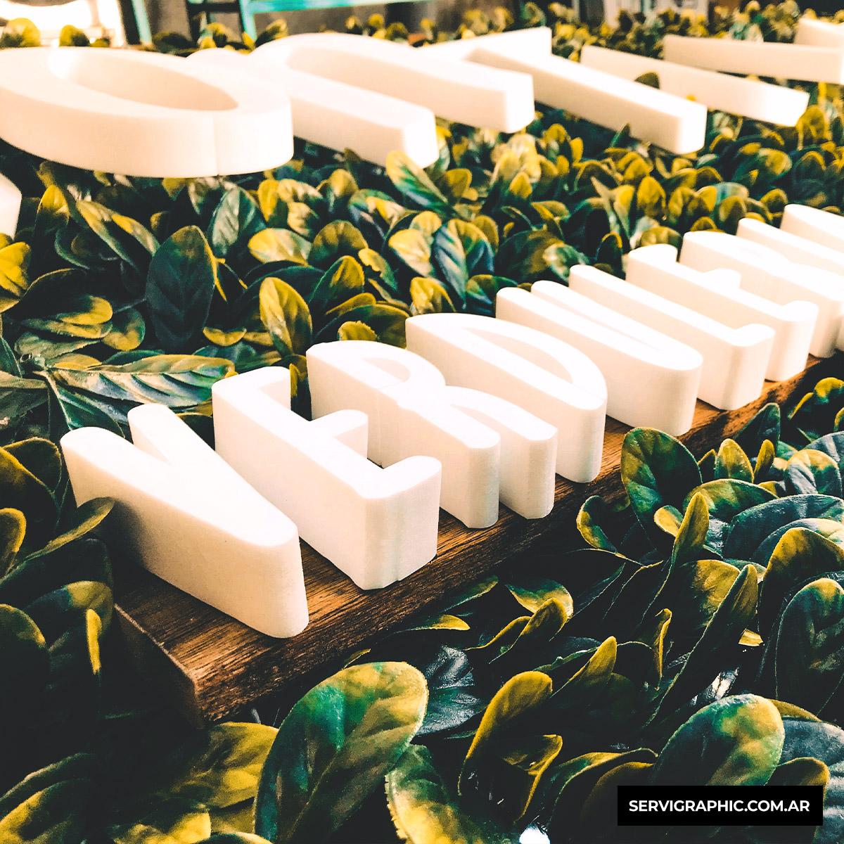 Letras con jardín vertical artificial premium y deck de madera.