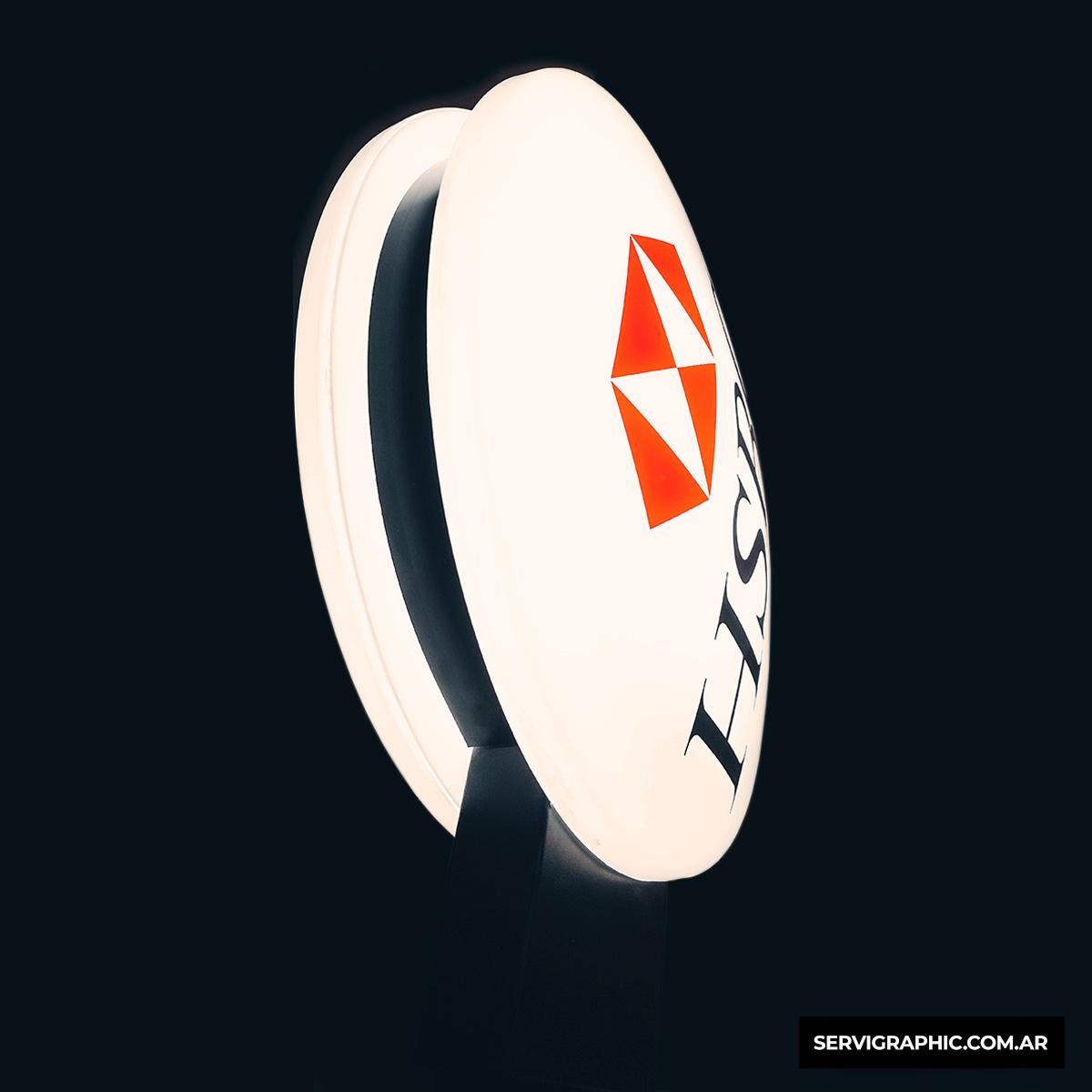 Cartel circular de acrilico de formar banco hsbc córdoba servigraphic carteles